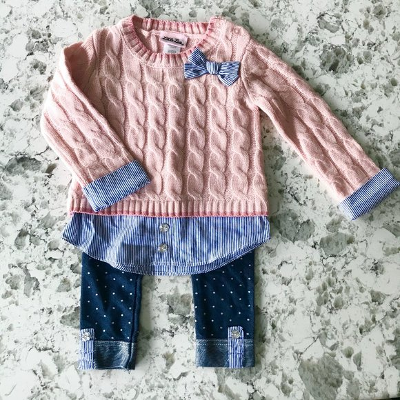 Little Lass layered look sweater jeggings set 18M